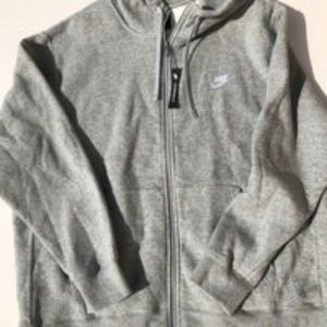 Nike Full Zip Hoodie Grey With Stitched Logo